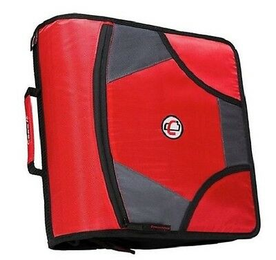 Case-it XL 3 Ring D-Ring 4 INCH Zipper Binder with 5-Tab File Folder RED NEW