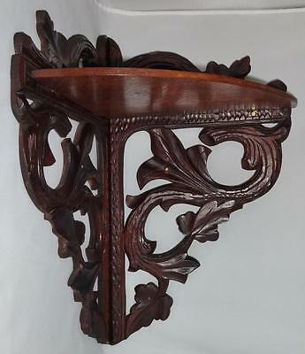 Unique Antique Walnut Carved Corner Folding Shelf Wall Mount Stylish!