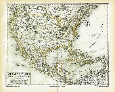 USA & Mexico antique map 1878 New York San Francisco Pacific railway California