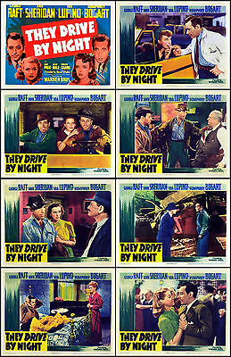 THEY DRIVE BY NIGHT GEORGE RAFT BOGART Full Set Of 8 Indiv 11x14 LC Prints 1944