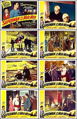 SUPERMAN & THE MOLE MEN * GEORGE REEVES complete set of 8 * 11x14 LC prints 1951