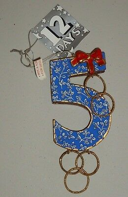 Dept 56 Twelve Days of Christmas DAY 5 GOLDEN RINGS Christmas Ornament w/Tag
