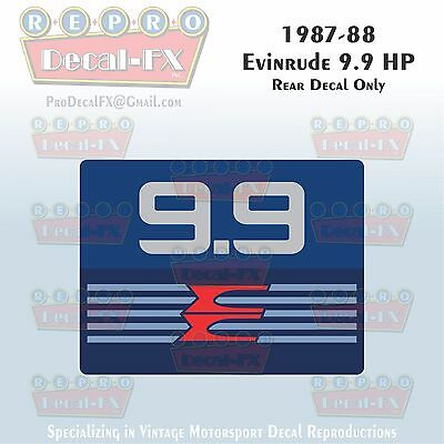 1987-88 Evinrude 9.9 HP Rear Decal Only Outboard Reproduction 1 Pc Marine Vinyl