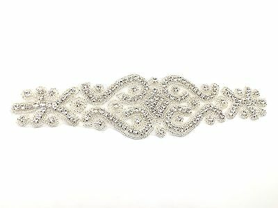 Stunning Crystal Motif Hand Sewing Iron on Bridal Dress Silver Belt  Applique