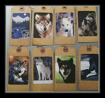 Beautiful Wolves In The Wilderness Set #2 - Primitive Hang Tags - Eight Total