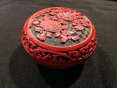 Vintage Chinese Carved Cinnabar Red and Black Lacquer Enamel Box with Lid