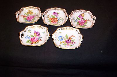5 Dresden Salts, Hand Painted, Flowers, Gold Border, Donath, Germany