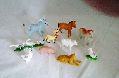 10 Little PLastic Farm Animals for your Christmas Displays