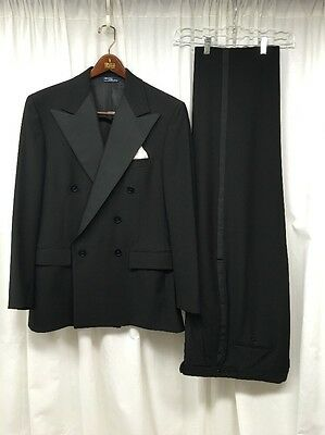 POLO RALPH LAUREN Tuxedo Suit 2 Piece Black Double Breasted 40 No Tag Size