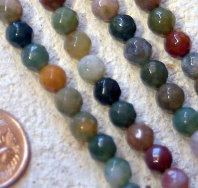 Natural INDIAN AGATE 6mm round, faceted gemstone BEADS