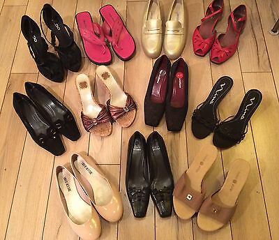 Women's Shoe Lot 11  Pairs Size 7 1/2 Assorted Brands Styles