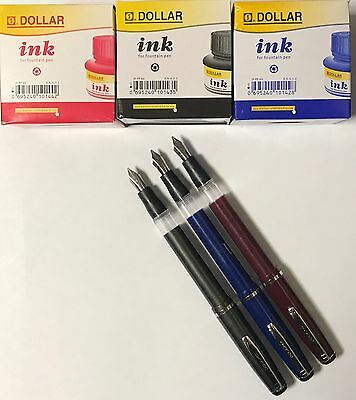 Set Of 3 Calligraphy Dollar Fountain Pen+3 Dollar Ink 60Ml Bottle Red Blue Black