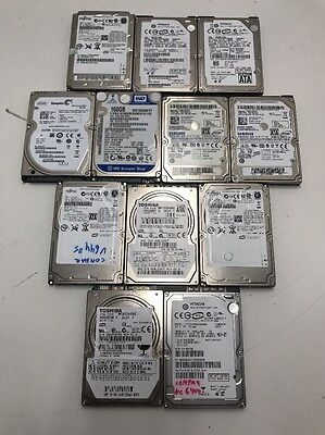 "LOT OF 12 MIX Brands 80 120 160 200 250 SATA LAPTOP HARD DRIVES 2.5"" TESTED!!!"