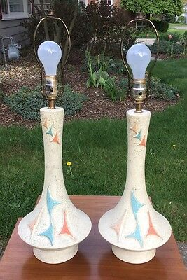Mid Century Modern 50s Chalkware Table Lamps Pair Retro Atomic