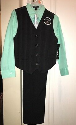 Boys 4 piece outfit Size 14 dress black pants & vest w mint green shirt tie NWT