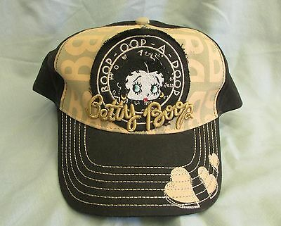 BETTY BOOP 2002 baseball cap hat ~ Black and brown 100% cotton ~ New~ Adjustable