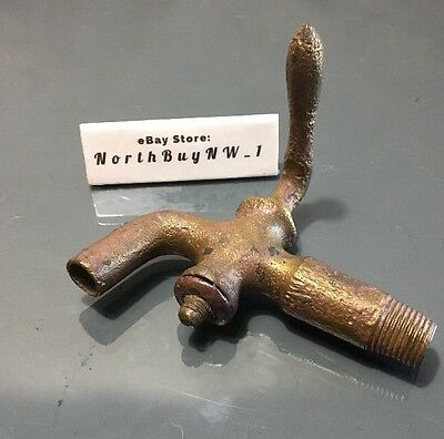 ANTIQUE BRONZE WATER SPIGOT Brass Valve Cast Metal Vintage Station Hose Faucet
