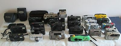 Lot of 22 Canon Fuji Minolta Olympus Polaroid Cameras Vintage Film Digital Cases