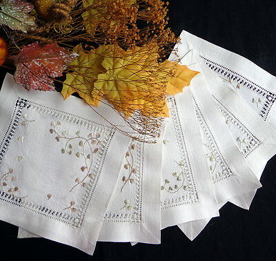 Antique Society Silk: SIX Hand-Embroidered Linen Doilies Coasters - Leafy Sprig