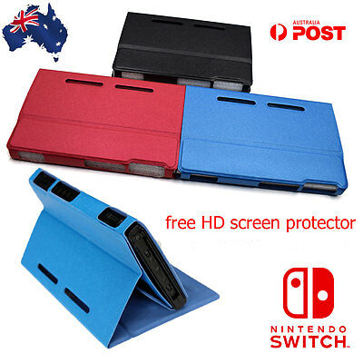 Nintendo Switch Leather Cover Flip Case Slim Shell Holder Free Screen protector