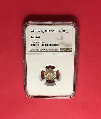 EGYPT - AH1327/4(AD1911) 1/10 QIRSH ,CERTIFIED BY NGC MS64 ..rare grading.