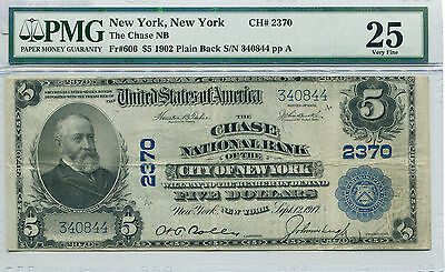 1902 $5 Chase National Bank of New York CH#2370 Plain Back VF-25 PMG Certified
