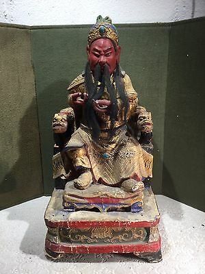 Antique Oriental Paper Over Wood Carved Emperor On Throne Figure