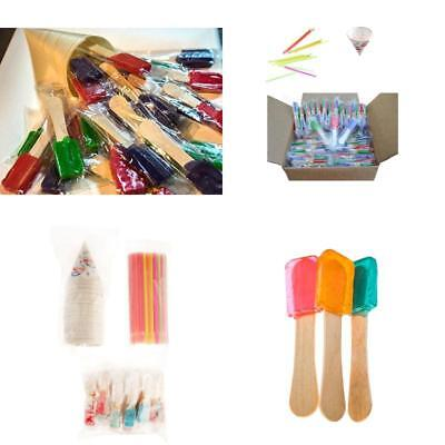NEW pack of 150 NEON Straws and Paper Snow Cone Cups and Snow Cone Candy Spoons