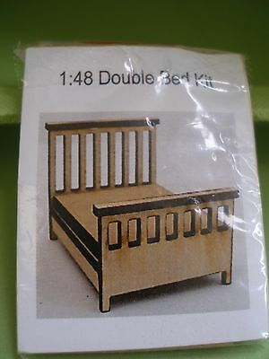 Dollhouse Miniature Tiny Double Bed Kit 1:48 Scale- Suit Doll Or Fairy House