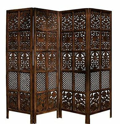 Rajasthan Antique Brown 4 Panel Handcrafted Wood Room Divider Screen 72x80,