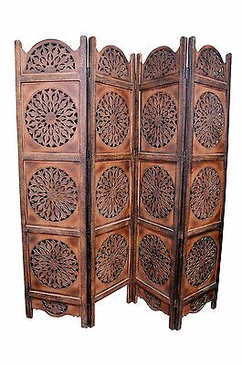 Rajasthan Antique Brown 4 Panel Handcrafted Wood Room Divider Screen 72 X 64 inc