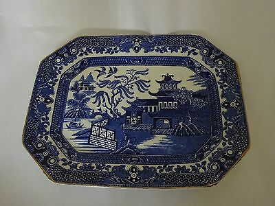 Vintage Ceramic Burleigh Ware Blue & White Willow Pattery Serving Plate