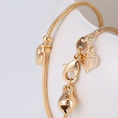 """9K 9ct Yellow """"Gold FILLED"""" Ladies Bell ANKLE Snake CHAIN Hearts ANKLET. 10.6"""""""