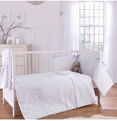 New Clair De Lune Stardust White Cot / Cot Bed 3 Piece Bedding Bale Gift Set