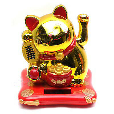 Maneki Neko Cats Luck Charming Gold Nohohon Solar ECO Japan Figure Limited RARE
