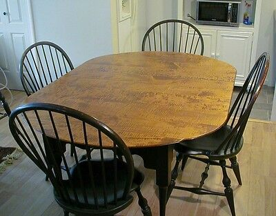 J L Treharn Ohio extension table + (4) D R Dimes Windsor chairs   EXC