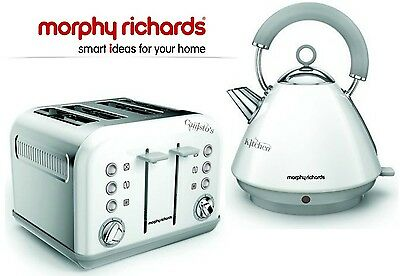 Kettle and Toaster Set Morphy Richards Accents Kettle & 4 Slot Toaster White New