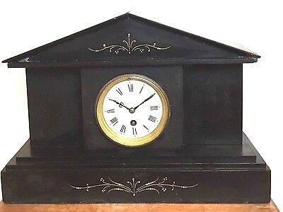 "French Marble Case Enamelled Face Timepiece Mantle Clock 11.5""H 16.5""W 5.5""D GWO"