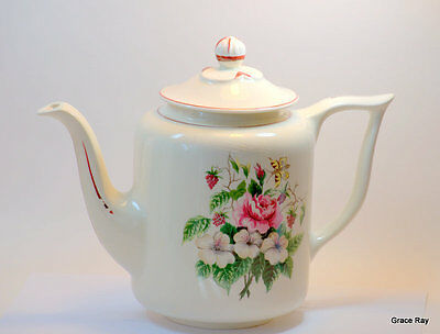 Knowles Edwin Fine China Vintage Teapot Coffee Pot Roses Flowers 5-50 Trim USA