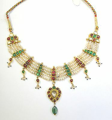 Vintage antique Solid 20K Gold jewelry Ruby Emerald Pearl Enamel Work Necklace