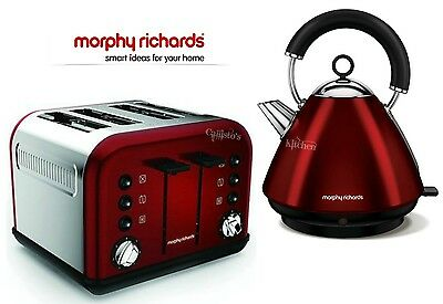 Kettle and Toaster Set Morphy Richards Accents Kettle & 4 Slot Toaster Red New