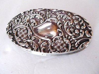 Antique English Sterling Silver Cut Glass Ornate Silver Lid Trinket Box
