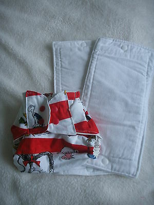 NEW Made in UK Handmade Nappy cover/wrap + 2 Sm Inserts Zorb Dr Suess Medley