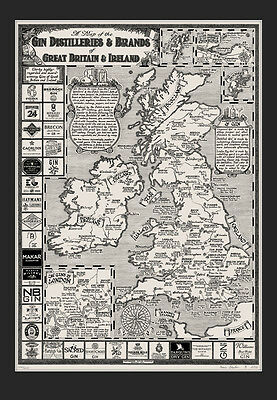 The Gin Map of Great Britain & Ireland - Art Prints by Manuscript Maps