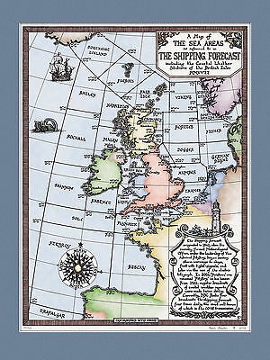 Limited Edition Colour Shipping Forecast Map  - Art Prints by Manuscript Maps