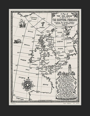 The Shipping Forecast Map - Art Prints by Manuscript Maps