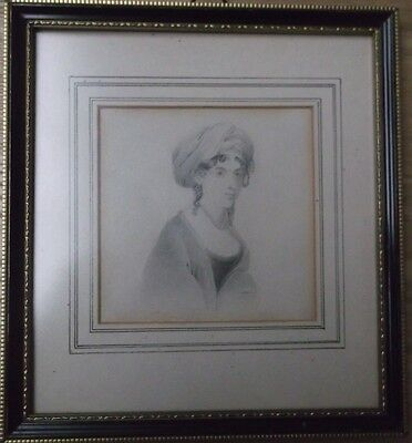 FRAMED GRAPHITE DRAWING by J.BAMBER 1831 A PORTRAIT STUDY OF A TURBANED WOMAN