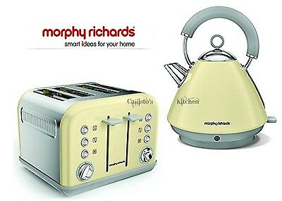 Kettle and Toaster Set Morphy Richards Accents Kettle & 4 Slot Toaster Cream New