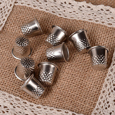 10X Dressmakers Vintage Metal Finger Thimble Protector Sewing Neddle Shield  FO