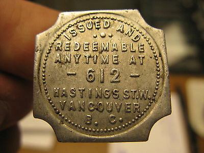 Vancouver BC Don't Argue Club Cigar Newsstand Trade Token Type III SquareNotched